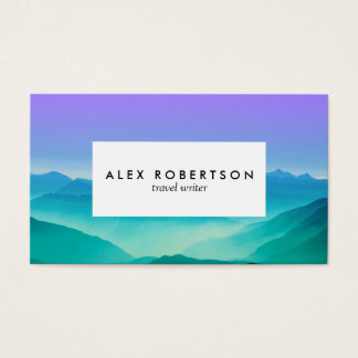 Minimal lilac and blue mountains business cards