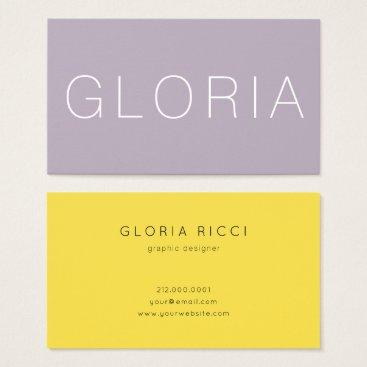 Professional Business Minimal Lilac Mustard Business Card