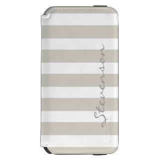 Minimal Linen Beige Stripes - Stylish Personalized iPhone 6/6s Wallet Case