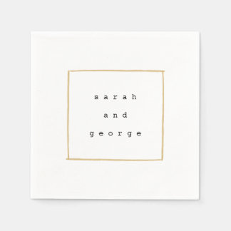 Minimal Lines Gold Party Paper Napkins