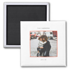 Minimal Lines Holiday Photo Magnet at Zazzle