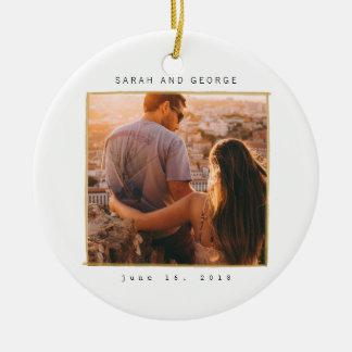 Minimal Lines Wedding Date Photo Ornament