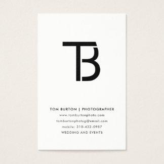 Minimal Logo Black and White Photo Business Card