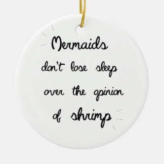 Minimal Mermaid Quote Double-Sided Ceramic Round Christmas Ornament