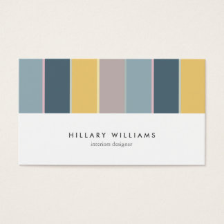 Minimal Mint yellow stripes nordic modern elegant Business Card