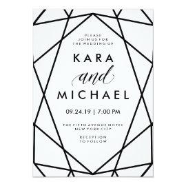 Minimal Modern Black and White Geometric Wedding Card