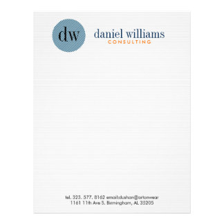 Minimal Modern Blue Circle & White Letterhead