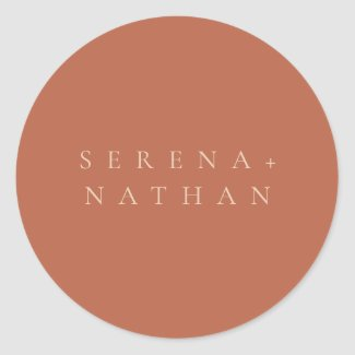 Minimal Modern Chic Blush & Rust Sunset Wedding Classic Round Sticker