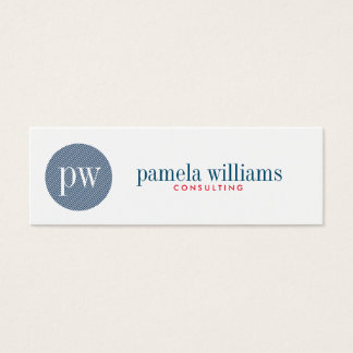 Minimal Modern Geometric White And Blue Mini Business Card