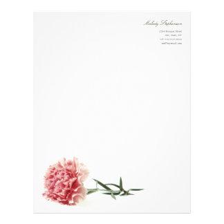 Minimal Modern Pink Carnation Personal Letterhead