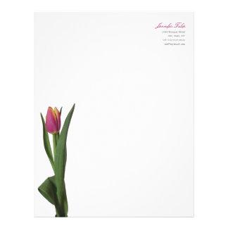 Minimal Modern Pink Tulip Personal Letterhead