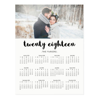 Minimal Modern Typography 2018 Photo Calendar Postcard