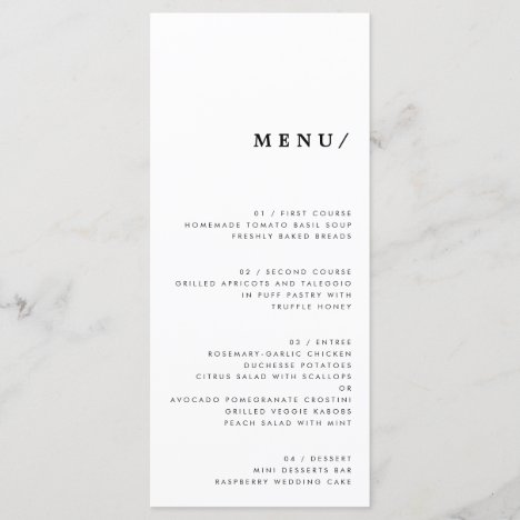 Minimal Modern Typography Wedding Monogram Classic Menu