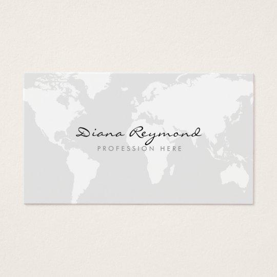 Minimal modern world map on very pale gray business card zazzle minimal modern world map on very pale gray business card colourmoves