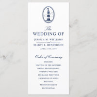 Minimal Nautical Wedding Program Lighthouse
