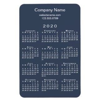 Minimal Navy White 2020 Calendar Company Name Info Magnet