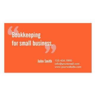 Minimal Orange Bookkeeping Service Business Card