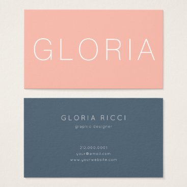 Professional Business Minimal Peach Midnight Blue Business Card