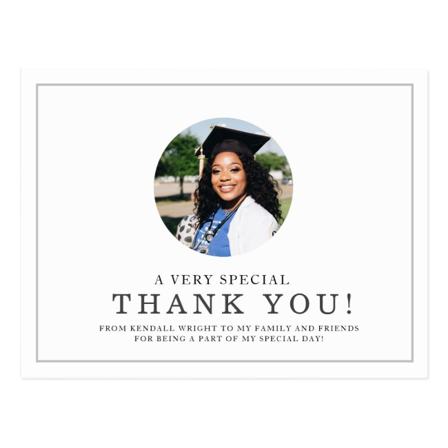 Minimal Photo Highlight | Graduate Thank You Postcard