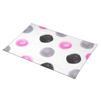 Minimal pink grey black big watercolor polka dots cloth placemat