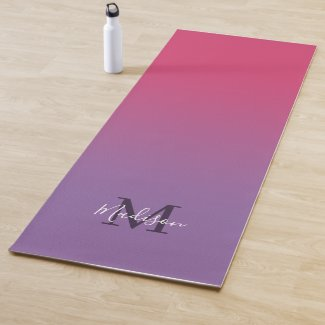 Minimal Pink Purple Gradient Monogram Script Name Yoga Mat