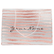 Minimal Pink Rose Gold Metallic Strokes Lines Glam Large Gift Bag