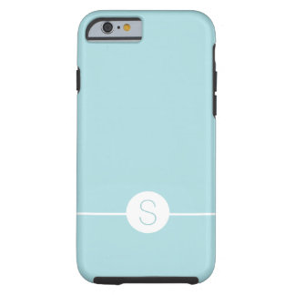 Minimal Plain Aqua White Monogram Tough iPhone 6 Case