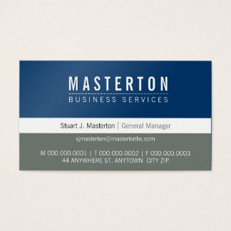 MINIMAL plain simple corporate royal blue grey Business Card