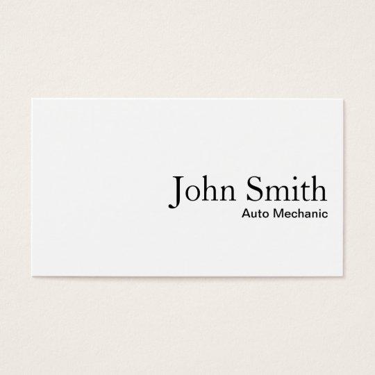 Minimal Plain White Auto Mechanic Business Card