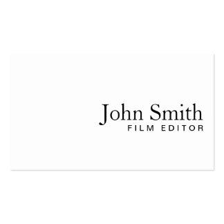 Minimal Plain White Film Editor Business Card