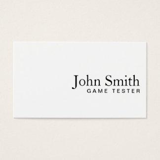 Minimal Plain White Game Testing Business Card