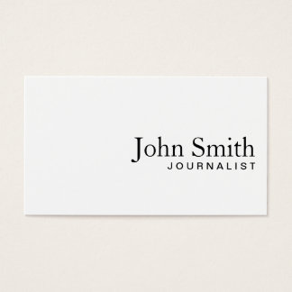 Minimal Plain White Journalist Business Card