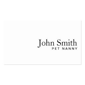 Minimal Plain White Pet Nanny Business Card