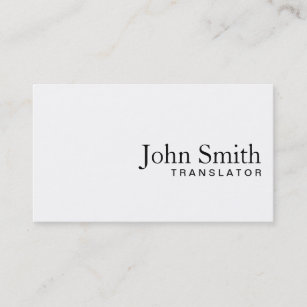 Interpreter business cards zazzle minimal plain white translator business card reheart Images