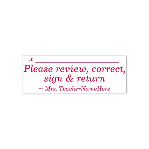 "Minimal ""Please review, correct, sign & return"" Self-inking Stamp"