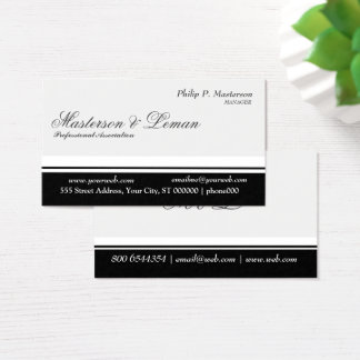 Minimal Professional   Balanced Stripe Black White Business Card