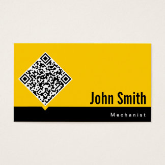Minimal QR Code Mechanic Yellow Business Card