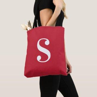 Minimal Red with Large White Monogram Tote Bag
