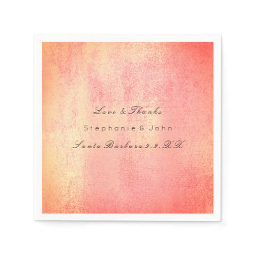 Beach Themed Minimal Rose Gold Blush Coral Peach Custom Name Napkin