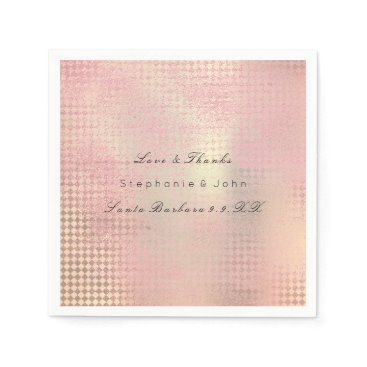 Beach Themed Minimal Rose Gold Blush Pink Metallic Custom Name Paper Napkin