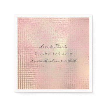Beach Themed Minimal Rose Gold Blush Pink Metallic Custom Name Paper Napkin