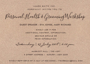 Seminar invitations zazzle minimal rose gold glitter seminar workshop event invitation thecheapjerseys Images