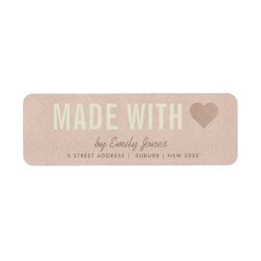 MINIMAL ROSE GOLD SHIMMER MADE WITH LOVE ADDRESS LABEL