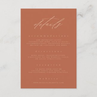 Minimal Rust Peach Fine Art Floral Wedding Details Enclosure Card