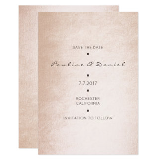 Minimal Save The Date Pink Rose Gold Powder Card