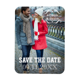 Minimal Save the Date simple wedding photo Magnet