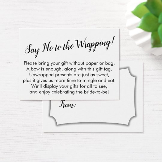 minimal say no to wrapping bridal shower gift card
