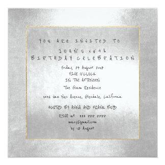 Minimal Silver Gray Gold Frame Birthday Party Card
