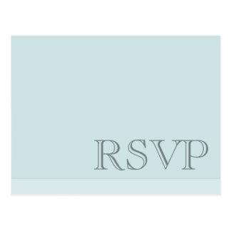Minimal Simple Basic Blue Grey RSVP Postcard