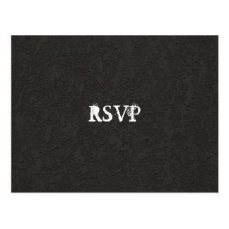Minimal Simple Basic Goth Cracked RSVP Postcard